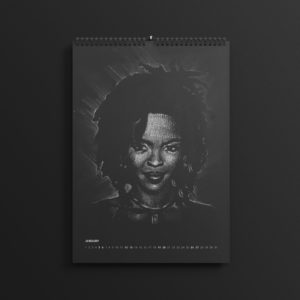 Lauryn Hill aka L Boogie of the Fugees in last year's #AllBlackSeries calendar, updated for 2019.