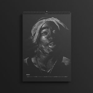 Tupac Shakur in last year's #AllBlackSeries calendar, updated for 2019.
