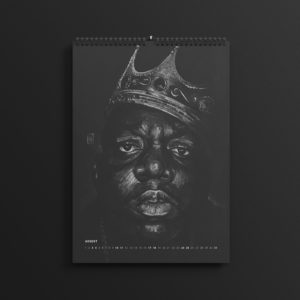 Biggie Smalls aka The Notorious BIG in last year's #AllBlackSeries calendar, updated for 2019.